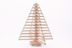 Wooden Christmas Tree Tied Up with String