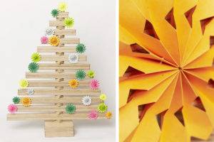 DIY Paper Flower Decoration on Wooden Christmas Tree