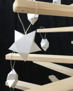 Wooden Christmas Tree decorated with Paper Star Ornament