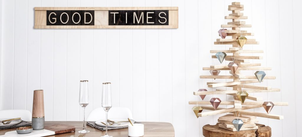 Good Times Wall Message Board and Wooden Christmas Tree by One Two Tree Designs