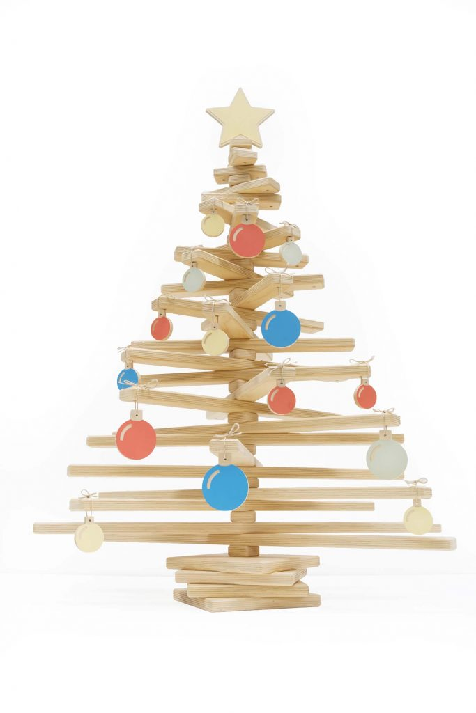 Wooden Christmas Tree with Golden Star Topper and Baubles Ornament - Modern Tree Decorations by One Two Tree Designs