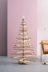 Wooden Christmas Tree with Star Tree Topper and Bauble Ornaments - Modern Tree Decorations by One Two Tree Designs