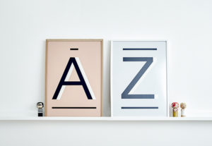 A and Z Alphabet Prints Art from One Two Tree Designs