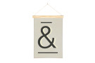 Wall Hanging Ampersand Art Print with One Two Tree Wooden Art Hanger
