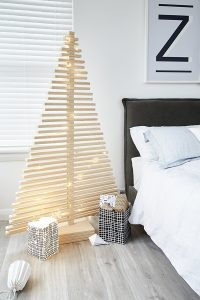 Large Wooden Christmas Tree Decoration in a Room - From One Two Tree Designs