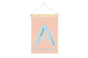 Wall Hanging Alphabet Art Print in A with One Two Tree Wooden Art Hanger