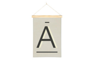 Wall Hanging Gray Alphabet Art Print in A with One Two Tree Wooden Art Hanger
