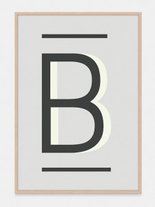 Gray Alphabet Art Print in the letter B, by One Two Tree