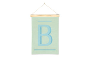 Wall Hanging Alphabet Art Print in B with One Two Tree Wooden Art Hanger