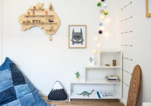 Boys Room decorated with Australia Wood Shelf Treasure Board from One Two Tree Designs