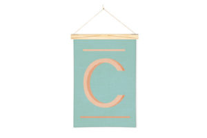 Wall Hanging Alphabet Art Print in C with One Two Tree Wooden Art Hanger