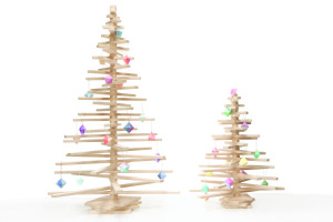 Large and Small Wooden Christmas Trees Decorated with Ornaments, available at One Two Tree Designs