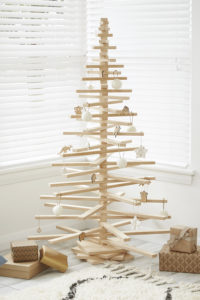 Large Wooden Christmas Tree decorated with Native Australian Animal and Star Ornaments from One Two Tree Designs
