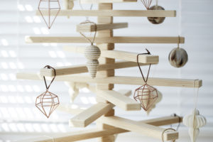Wooden Christmas Tree with Hanging Tree Ornaments - One Two Tree Designs