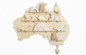 Wooden Australia Wall Shelf Treasure Board Decorated with Native Australian Animal Wood Toys - One Two Tree Designs