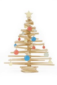Wooden Christmas Tree with Star Tree Topper and Ornaments - One Two Tree Designs