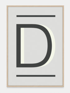 Grey Alphabet Art Print in the letter D, by One Two Tree