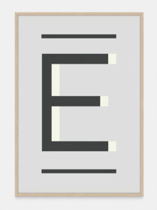 Grey Alphabet Art Print in the letter E, by One Two Tree