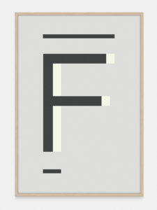 Grey Alphabet Art Print in the letter F, by One Two Tree