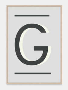 Grey Alphabet Art Print in the letter G, by One Two Tree