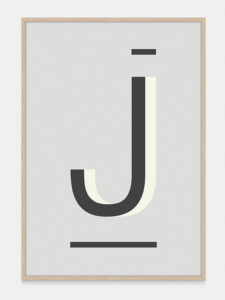Grey Alphabet Art Print in the letter J, by One Two Tree