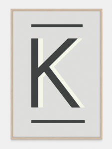 Grey Alphabet Art Print in the letter K, by One Two Tree
