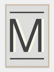 Grey Alphabet Art Print in the letter M, by One Two Tree