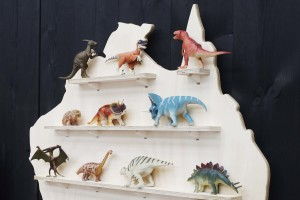 Australia Wooden Wall Shelf Treasure Board decorated with Native Australian Animals Toy Set from One Two Tree Designs.