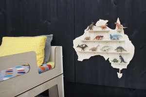 Australia Wooden Wall Shelf Treasure Board decorated on a room with Native Australian Animals and Rainbow Stacking Toy Set from One Two Tree Designs.