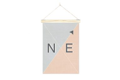 Linen Nautical Banner NE and Art Wall Hanger from One Two Tree Designs