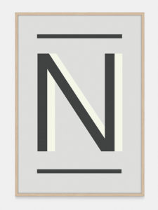 Grey Alphabet Art Print in the letter N, by One Two Tree