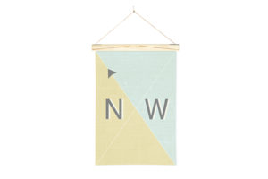 Linen Nautical Banner NW and Art Wall Hanger from One Two Tree Designs