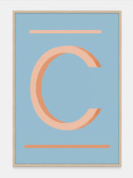 Alphabet Art Print in Orange C, available at One Two Tree