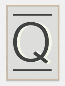 Grey Alphabet Art Print in the letter Q, by One Two Tree