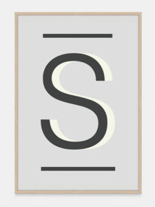 Grey Alphabet Art Print in the letter S, by One Two Tree
