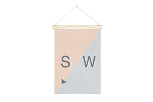 Linen Nautical Banner SW and Art Wall Hanger from One Two Tree Designs