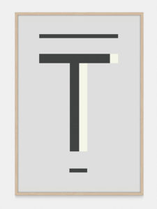 Grey Alphabet Art Print in the letter T, by One Two Tree
