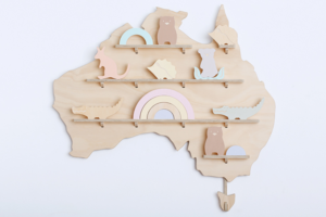 Australia Wooden Wall Shelf Treasure Board decorated with Native Australian Animals and Rainbow Stacking Toy Set from One Two Tree Designs.