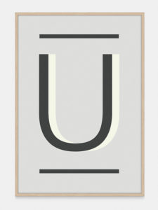 Grey Alphabet Art Print in the letter U, by One Two Tree