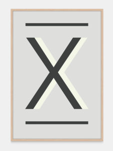 Grey Alphabet Art Print in the letter X, by One Two Tree