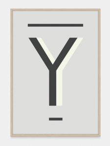 Grey Alphabet Art Print in the letter Y, by One Two Tree