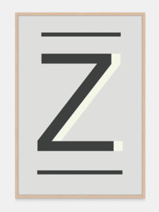 Grey Alphabet Art Print in the letter Z, by One Two Tree