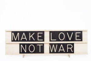 Make Love Not War - 10x2 Wooden Message Board from One Two Tree