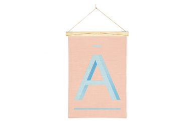 Blue Letter A Printed Linen Alphabet Wall Hanging Art from One Two Tree