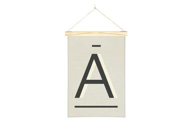 Gray Letter A Printed Linen Alphabet Wall Hanging Art from One Two Tree