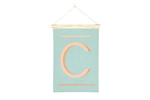 Orange Letter C Printed Linen Alphabet Wall Hanging Art from One Two Tree