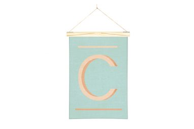 Linen Print Banner Orange C from One Two Tree