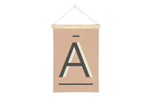 Letter A Printed Linen Alphabet Wall Hanging Art from One Two Tree