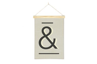 Gray Ampersand Sign Printed Linen Wall Hanging Art from One Two Tree