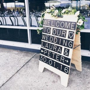 Wedding Welcome Message Board from One Two Tree Designs